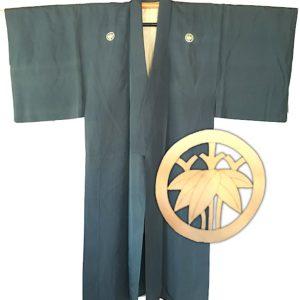 Antique kimono samourai Sasa Montsuki soie bleu homme