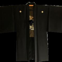 Antique haori samourai Ginkakuji Kinkakuji Sumitate Yotsume Montsuki soie noire homme