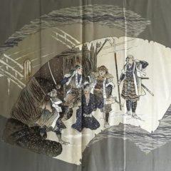 "Ancien haori samourai Chushingura soie noire homme ""Made in Japan"""