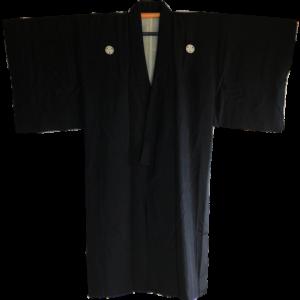Antique Kimono japonais samourai soie noire Maruni Katabami Montsuki homme