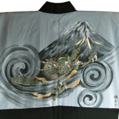 "Antique haori samourai Fuji Ryu Takanohane Montsuki homme ""Made in Japan"""
