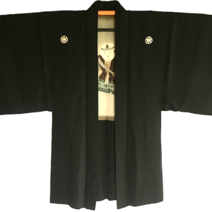 "Antique Haori Nô no Mai Kodomo Samourai Montsuki soie noire homme ""Made in Japan"""