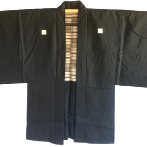"Antique haori samourai Shima Maru ni Yotsume Hishi soie noire homme ""Made in Japan"""