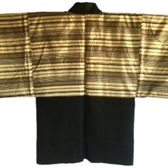"Antique haori samourai Shima Maru ni Yotsume Hishi soie noire homme ""Made in Japan"""