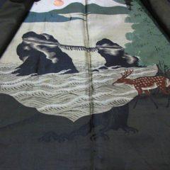 """Antique Haori samourai Meoto iwa Ise Maruni Dakimyoga montsuki soie noire homme """"Made in Japan"""""""