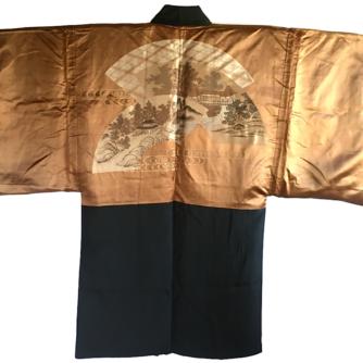 Antique Haori Samourai soie noire Yama no O Tera Takano Hane Montsuki homme 1