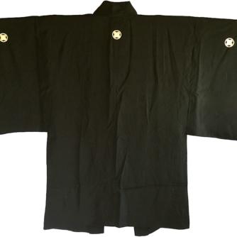 Antique Haori samourai soie noire Takano Hane Montsuki d'été homme 1
