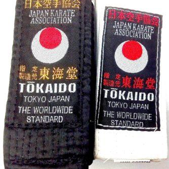 Ceinture blanche et noire coton satin superieur Tokaido JKA (Association japonaise de Karate) 3