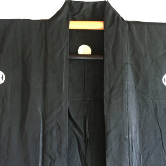 "Antique Haori samourai soie noire Takano Hane Montsuki d'été homme ""Made in Japan"""