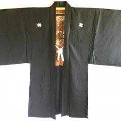 Antique Haori Samourai soie noire Yama no O Tera Takano Hane Montsuki homme