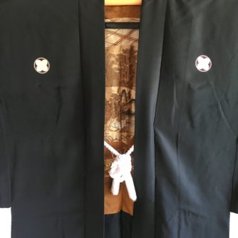 "Antique Haori Samourai soie noire Yama no Jinja Takano Hane Montsuki homme ""Made in Japan"""