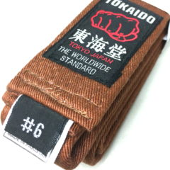 Ceinture marron Karate Tokaido BLB Kobushi Taille 6 (295cm)