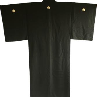 Antique kimono japonais samourai soie noire DakiMyoga Montsuki homme 1