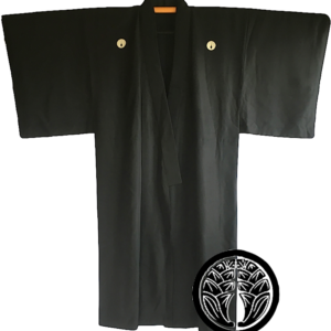 Antique kimono japonais samourai Maruni Dakimyoga montsuki soie noire homme