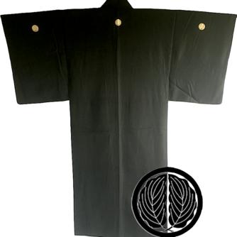 Antique kimono japonais samourai soie noire Maruni Dakigashiwa Montsuki homme 1