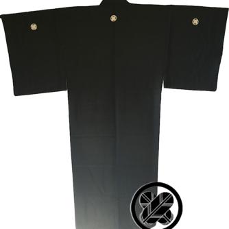 Antique kimono japonais samourai soie noire Maruni TakanoHane Montsuki homme 1