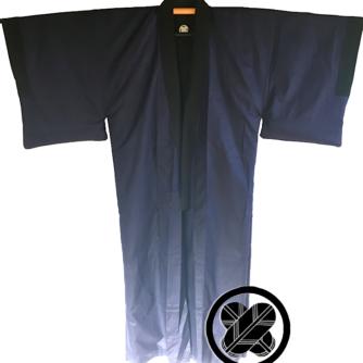 Antique kimono japonais samourai soie noire Maruni TakanoHane Montsuki homme 2