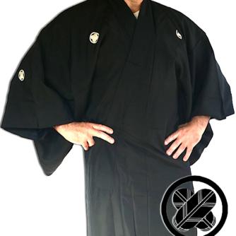 Antique kimono japonais samourai soie noire Maruni TakanoHane Montsuki homme 5