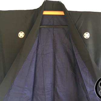 Antique kimono japonais samourai soie noire Maruni TakanoHane Montsuki homme 8