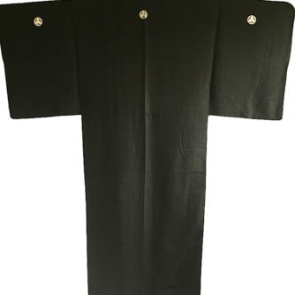 Antique kimono japonais soie noire Tsuru Gashiwa Montsuki homme 1