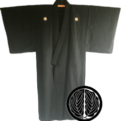 Antique kimono japonais samourai soie noire Maruni Dakigashiwa Montsuki homme
