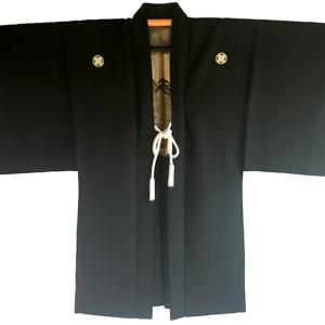 Antique Haori samourai soie noire Kumano Jinja Maruni TakanoHane Montsuki homme