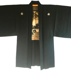 """Antique Haori samourai soie noire Byodo-In Maruni Mitsu Kashiwa Montsuki homme """"Made in Japan"""""""