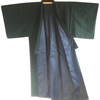 Antique kimono japonais soie noire homme 2