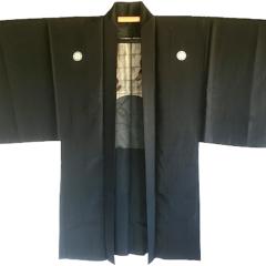 """Rare antique Haori samourai soie noire Maruni KenKatabami Montsuki """"Ken no Shiai"""""""