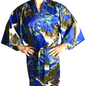 "Kimono Happi Coat Tora Washi polyester bleu (42 inch) homme ""Made in Kyoto Japan"""