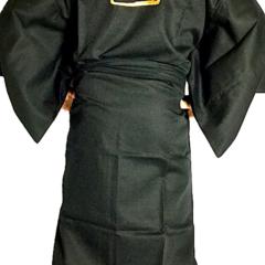Kimono japonais Samourai coton noir homme Made in Kyoto Japan