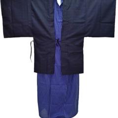 """Haori Kimono/Yukata noir coton """"Shantung"""" Made in Kyoto Japan"""