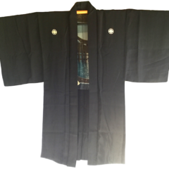 Luxe antique Haori samourai soie noire Maruni Mokkou Montsuki Torii Miyajima homme