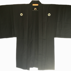 "Antique Haori soie noire Mitsu Oi Myoga Montsuki homme ""Made in Japan"""