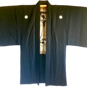 """Antique veste kimono Haori soie noire Mitsu Tomoe Take Koi Nobori homme """"Made in Japan"""""""