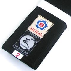 Ceinture noire Aikido Obi coton large Soft'n Tozando Aikikai