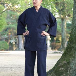 "Luxe samue Chijimi Ori bleu marine ""Made in Japan"""