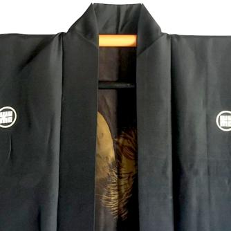 Antique haori samourai soie noire montsuki kuro uma l'etalon noir homme 2