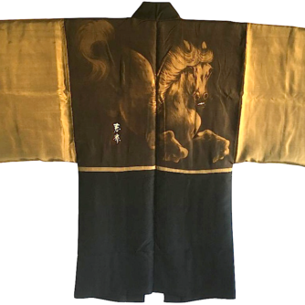 Antique haori samourai soie noire montsuki kuro uma l'etalon noir homme 6