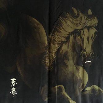 Antique haori samourai soie noire montsuki kuro uma l'etalon noir homme 7