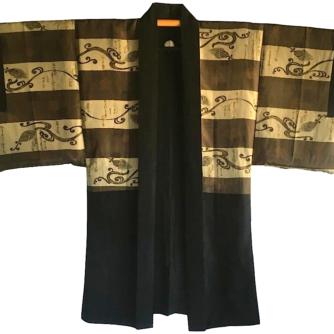 Luxe Antique haori soie noire Maruni Kashiwa Montsuki Koten Gara Waka homme 2
