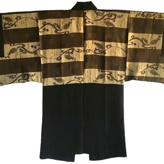 Luxe Antique haori soie noire Maruni Kashiwa Montsuki Koten Gara Waka homme 4
