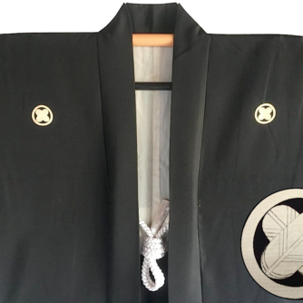 Antique haori japonais soie noire Maruni Takanohane Montsuki homme Made in Japan1