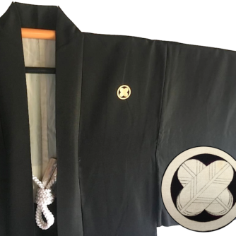 Antique haori japonais soie noire Maruni Takanohane Montsuki homme Made in Japan3