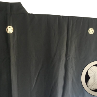Antique haori japonais soie noire Maruni Takanohane Montsuki homme Made in Japan5