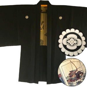 Antique veste kimono haori samourai Mokkou Montsuki Ikusa no Hidensho homme