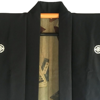 Antique haori samourai soie noire Mokkou Montskuki Ikusa no Hidensho homme2