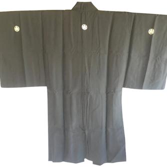 Antique haori samourai sore noire Zen Daruma 1