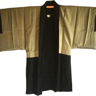 Antique haori samourai sore noire Zen Daruma 2