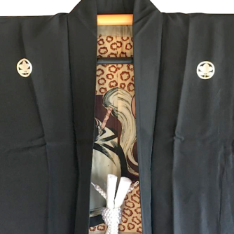 Antique haori samourai sore noire Zen Daruma 4